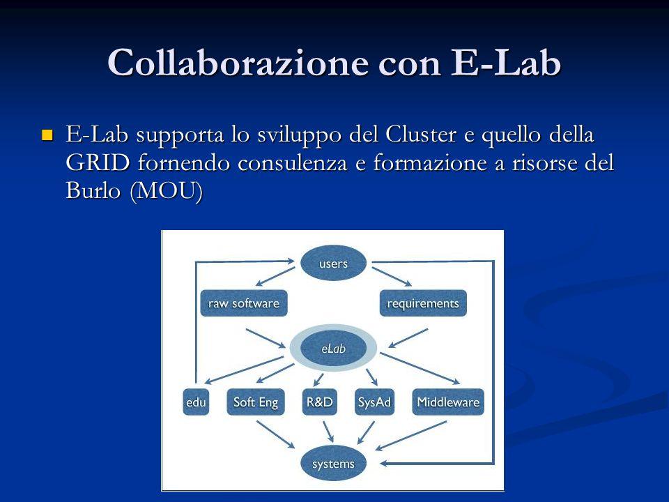 Collaborazione con E-Lab E-Lab supporta lo sviluppo del Cluster e quello della GRID fornendo consulenza e formazione a risorse del Burlo (MOU) E-Lab supporta lo sviluppo del Cluster e quello della GRID fornendo consulenza e formazione a risorse del Burlo (MOU)