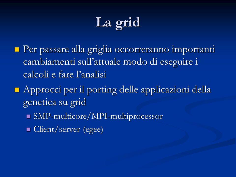 La grid Per passare alla griglia occorreranno importanti cambiamenti sull'attuale modo di eseguire i calcoli e fare l'analisi Per passare alla griglia occorreranno importanti cambiamenti sull'attuale modo di eseguire i calcoli e fare l'analisi Approcci per il porting delle applicazioni della genetica su grid Approcci per il porting delle applicazioni della genetica su grid SMP-multicore/MPI-multiprocessor SMP-multicore/MPI-multiprocessor Client/server (egee) Client/server (egee)