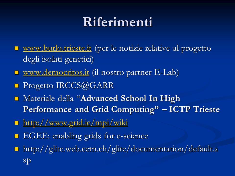 Riferimenti www.burlo.trieste.it (per le notizie relative al progetto degli isolati genetici) www.burlo.trieste.it (per le notizie relative al progetto degli isolati genetici) www.burlo.trieste.it www.democritos.it (il nostro partner E-Lab) www.democritos.it (il nostro partner E-Lab) www.democritos.it Progetto IRCCS@GARR Progetto IRCCS@GARR Materiale della Advanced School In High Performance and Grid Computing – ICTP Trieste Materiale della Advanced School In High Performance and Grid Computing – ICTP Trieste http://www.grid.ie/mpi/wiki http://www.grid.ie/mpi/wiki http://www.grid.ie/mpi/wiki EGEE: enabling grids for e-science EGEE: enabling grids for e-science http://glite.web.cern.ch/glite/documentation/default.a sp http://glite.web.cern.ch/glite/documentation/default.a sp