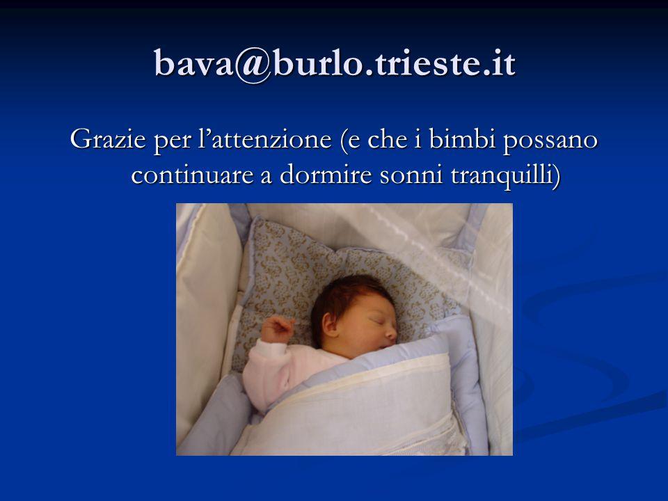bava@burlo.trieste.it Grazie per l'attenzione (e che i bimbi possano continuare a dormire sonni tranquilli)