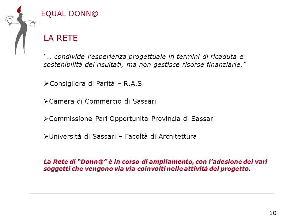 EQUAL DONN@ 10 LA RETE … condivide l'esperienza progettuale in termini di ricaduta e sostenibilità dei risultati, ma non gestisce risorse finanziarie.  Consigliera di Parità – R.A.S.