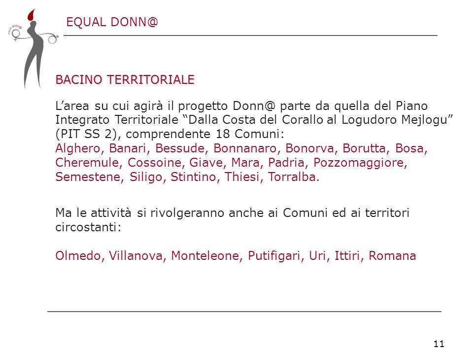 EQUAL DONN@ 11 BACINO TERRITORIALE L'area su cui agirà il progetto Donn@ parte da quella del Piano Integrato Territoriale Dalla Costa del Corallo al Logudoro Mejlogu (PIT SS 2), comprendente 18 Comuni: Alghero, Banari, Bessude, Bonnanaro, Bonorva, Borutta, Bosa, Cheremule, Cossoine, Giave, Mara, Padria, Pozzomaggiore, Semestene, Siligo, Stintino, Thiesi, Torralba.