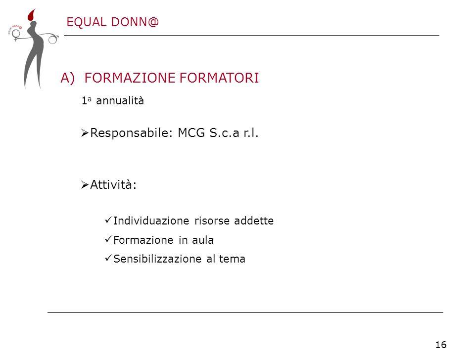 EQUAL DONN@ 16 A)FORMAZIONE FORMATORI 1 a annualità  Responsabile: MCG S.c.a r.l.