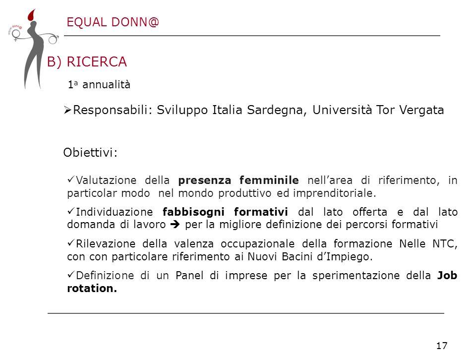 EQUAL DONN@ 17 B) RICERCA 1 a annualità  Responsabili: Sviluppo Italia Sardegna, Università Tor Vergata Obiettivi: Valutazione della presenza femminile nell'area di riferimento, in particolar modo nel mondo produttivo ed imprenditoriale.