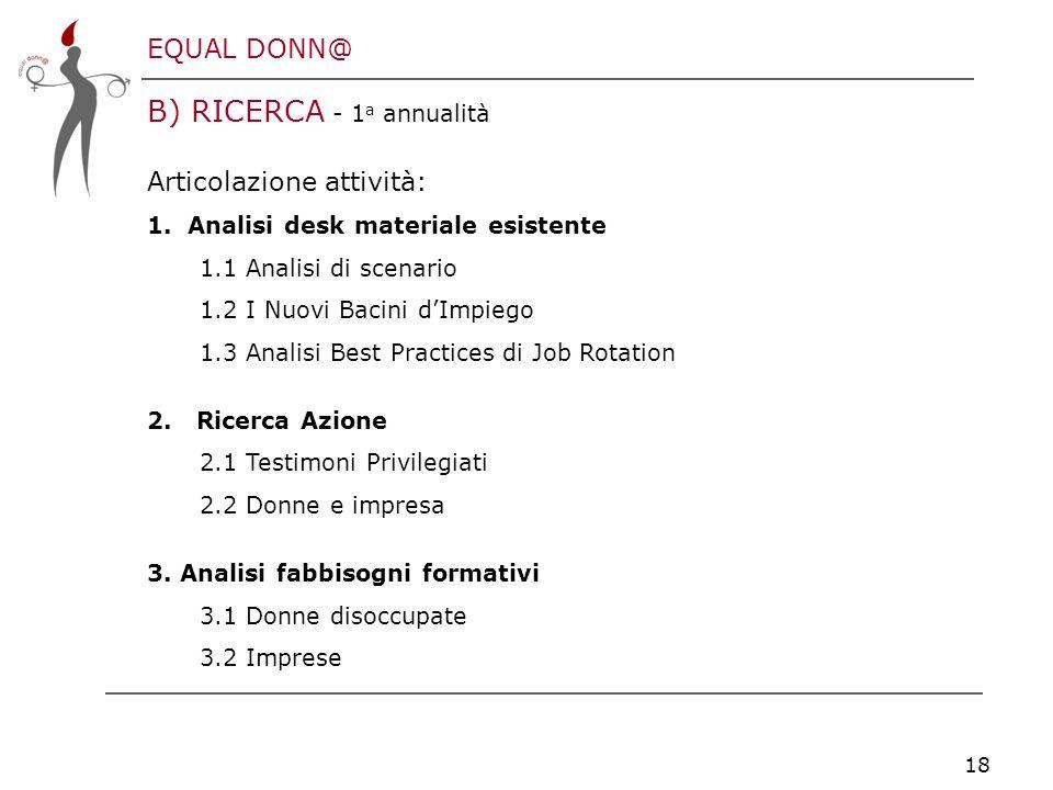 EQUAL DONN@ 18 B) RICERCA - 1 a annualità Articolazione attività: 1.