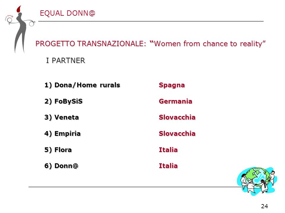 "EQUAL DONN@ 24 PROGETTO TRANSNAZIONALE: ""Women from chance to reality"" I PARTNER 1) Dona/Home rurals Spagna 2) FoBySiS Germania 3) Veneta Slovacchia 4"