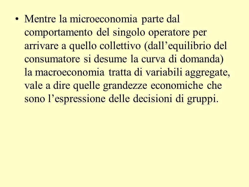 Mentre la microeconomia parte dal comportamento del singolo operatore per arrivare a quello collettivo (dall'equilibrio del consumatore si desume la curva di domanda) la macroeconomia tratta di variabili aggregate, vale a dire quelle grandezze economiche che sono l'espressione delle decisioni di gruppi.