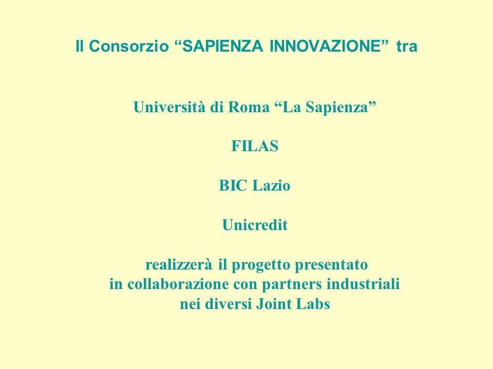 Il Consorzio SAPIENZA INNOVAZIONE tra Università di Roma La Sapienza FILAS BIC Lazio Unicredit realizzerà il progetto presentato in collaborazione con partners industriali nei diversi Joint Labs