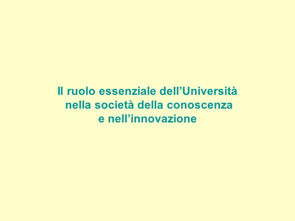 Il ruolo essenziale dell'Università nella società della conoscenza e nell'innovazione