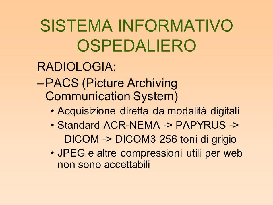 SISTEMA INFORMATIVO OSPEDALIERO RADIOLOGIA: –PACS (Picture Archiving Communication System) Acquisizione diretta da modalità digitali Standard ACR-NEMA