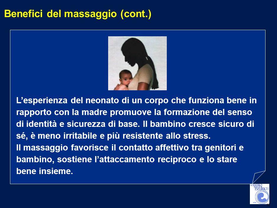 18 Benefici del massaggio (cont.) L'esperienza del neonato di un corpo che funziona bene in rapporto con la madre promuove la formazione del senso di identità e sicurezza di base.