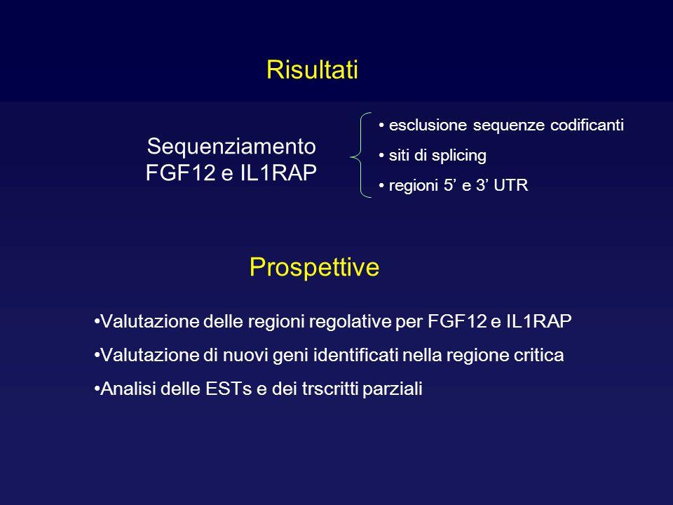 Sequenziamento FGF12 e IL1RAP esclusione sequenze codificanti siti di splicing regioni 5' e 3' UTR Risultati Valutazione delle regioni regolative per