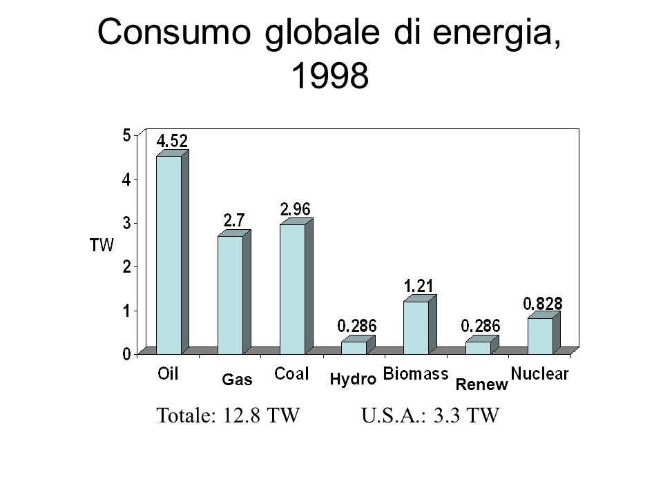 Consumo globale di energia, 1998 Gas Hydro Renew Totale: 12.8 TW U.S.A.: 3.3 TW