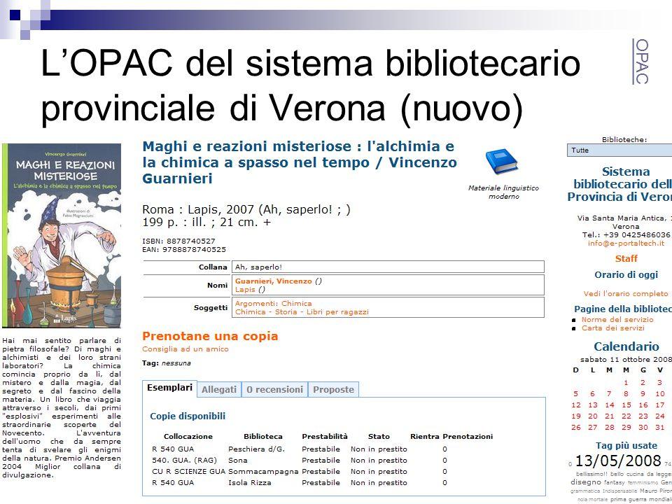 L'OPAC del sistema bibliotecario provinciale di Verona (nuovo) OPAC