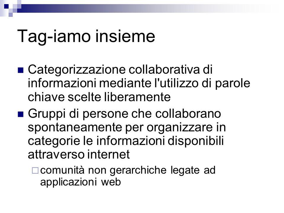 Tag-iamo insieme Categorizzazione collaborativa di informazioni mediante l utilizzo di parole chiave scelte liberamente Gruppi di persone che collaborano spontaneamente per organizzare in categorie le informazioni disponibili attraverso internet  comunità non gerarchiche legate ad applicazioni web