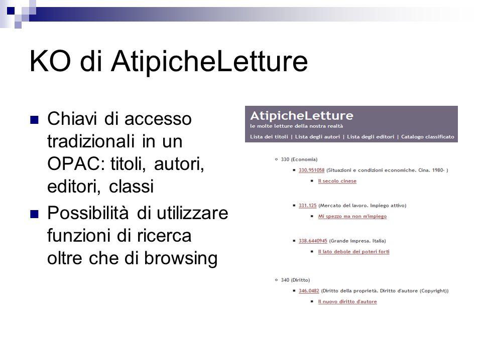 KO di AtipicheLetture Chiavi di accesso tradizionali in un OPAC: titoli, autori, editori, classi Possibilità di utilizzare funzioni di ricerca oltre che di browsing