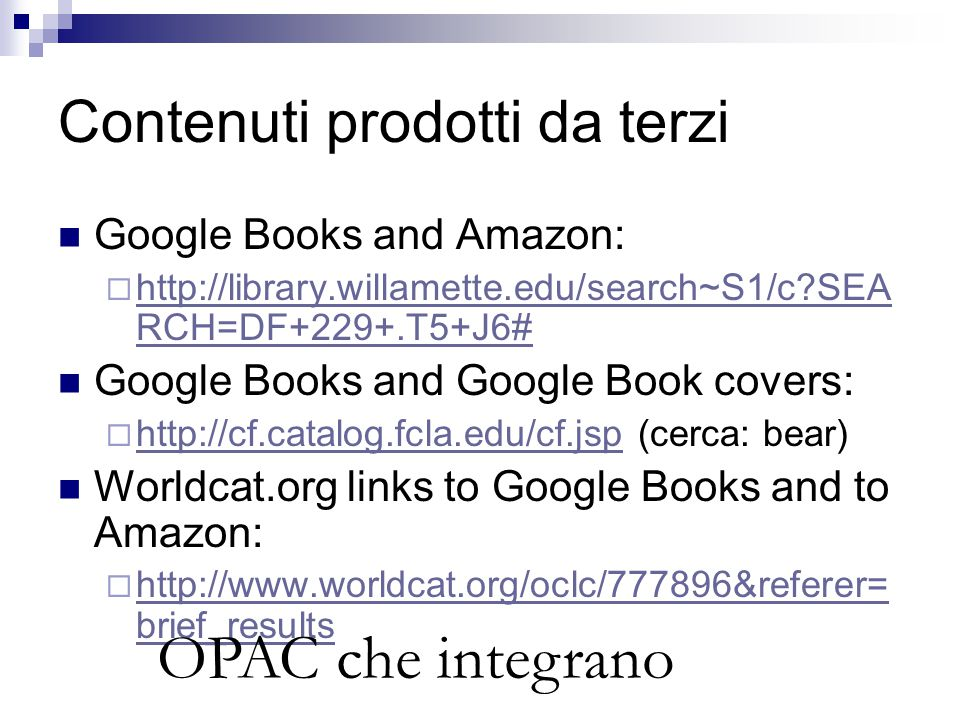 Contenuti prodotti da terzi Google Books and Amazon:  http://library.willamette.edu/search~S1/c?SEA RCH=DF+229+.T5+J6# http://library.willamette.edu/