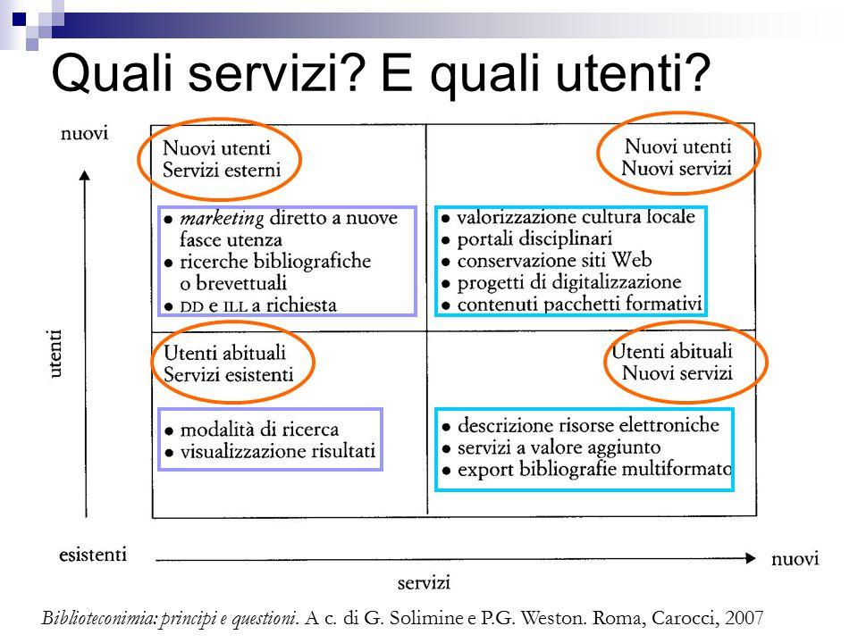 Quali servizi. E quali utenti. Biblioteconimia: principi e questioni.
