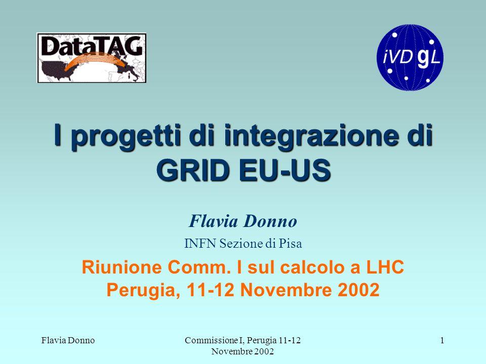 Flavia DonnoCommissione I, Perugia 11-12 Novembre 2002 1 I progetti di integrazione di GRID EU-US Flavia Donno INFN Sezione di Pisa Riunione Comm. I s