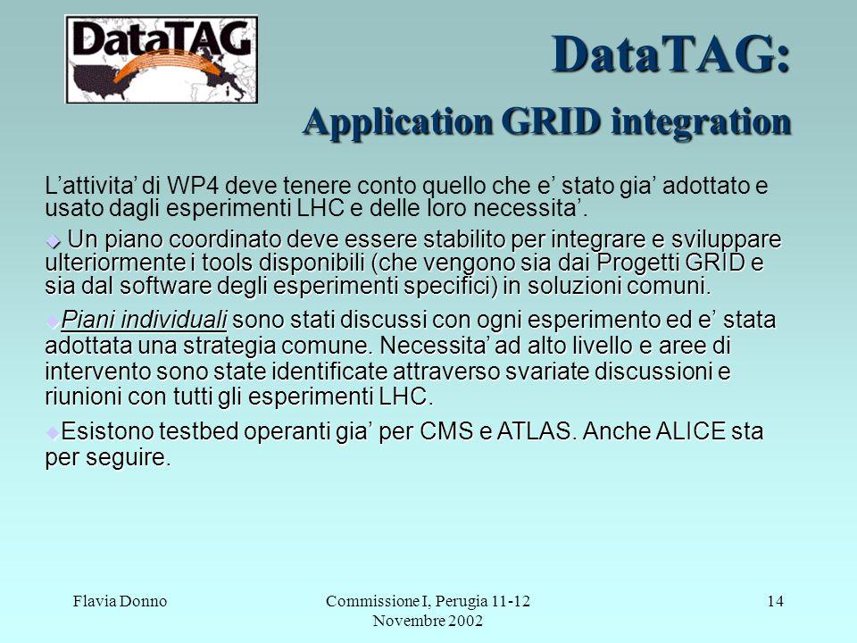 Flavia DonnoCommissione I, Perugia 11-12 Novembre 2002 14 DataTAG: Application GRID integration L'attivita' di WP4 deve tenere conto quello che e' stato gia' adottato e usato dagli esperimenti LHC e delle loro necessita'.