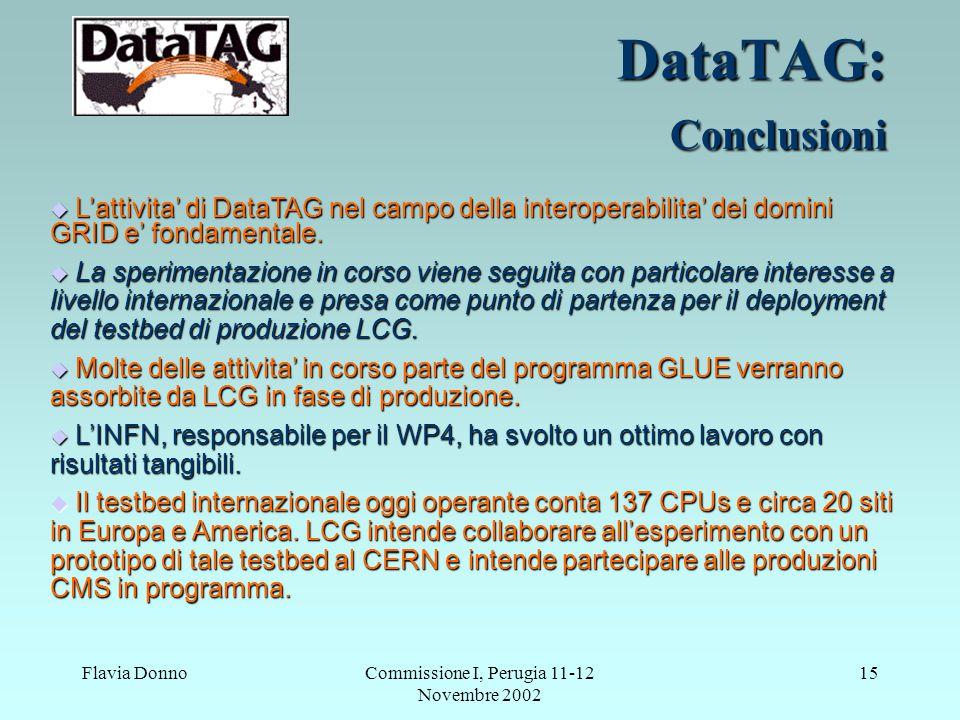 Flavia DonnoCommissione I, Perugia 11-12 Novembre 2002 15 DataTAG: Conclusioni  L'attivita' di DataTAG nel campo della interoperabilita' dei domini G