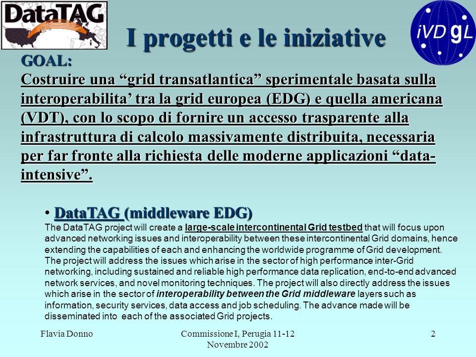 """Flavia DonnoCommissione I, Perugia 11-12 Novembre 2002 2 I progetti e le iniziative GOAL: Costruire una """"grid transatlantica"""" sperimentale basata sull"""