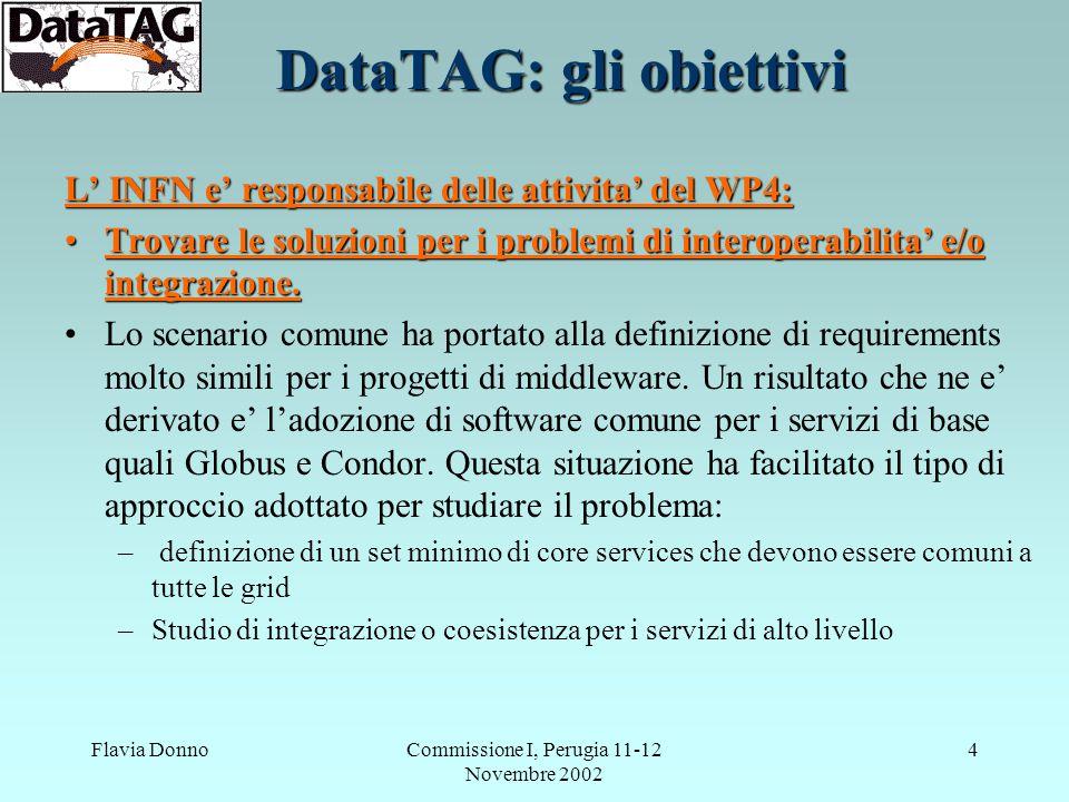 Flavia DonnoCommissione I, Perugia 11-12 Novembre 2002 4 DataTAG: gli obiettivi L' INFN e' responsabile delle attivita' del WP4: Trovare le soluzioni per i problemi di interoperabilita' e/o integrazione.Trovare le soluzioni per i problemi di interoperabilita' e/o integrazione.