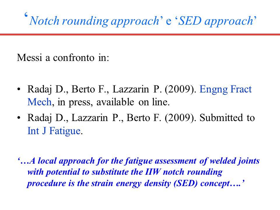 RACCOMANDAZIONI IIW: METODO DI RADAJ Hobbacher 2005, 2007  f =1 mm indipendentemente dall'angolo di apertura s si riferisce al caso normal stress (plane stress)  f =  + s  * =1.0 mm s=2.5,  = 0.4 mm