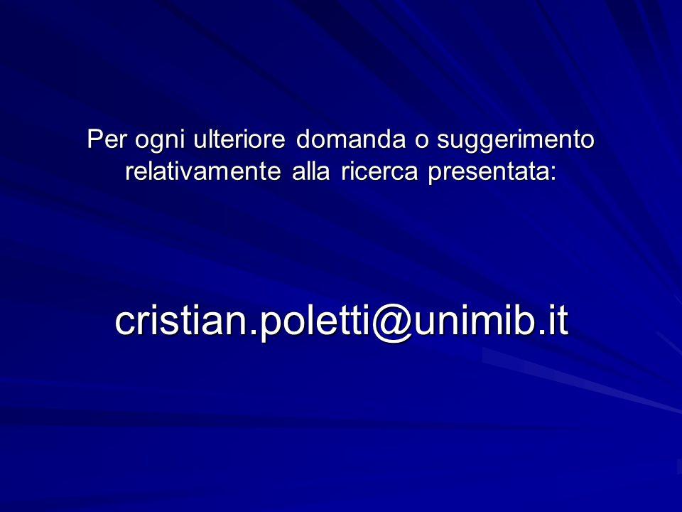 Per ogni ulteriore domanda o suggerimento relativamente alla ricerca presentata: cristian.poletti@unimib.it