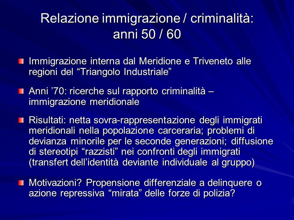 """Relazione immigrazione / criminalità: anni 50 / 60 Immigrazione interna dal Meridione e Triveneto alle regioni del """"Triangolo Industriale"""" Anni '70: r"""