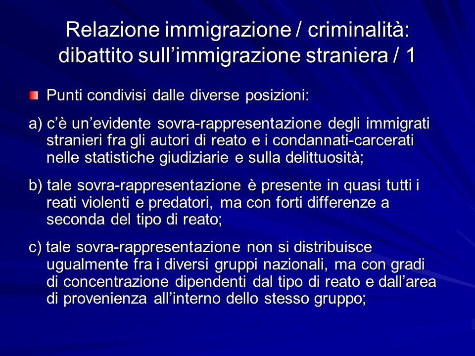 Relazione immigrazione / criminalità: dibattito sull'immigrazione straniera / 1 Punti condivisi dalle diverse posizioni: a) c'è un'evidente sovra-rapp