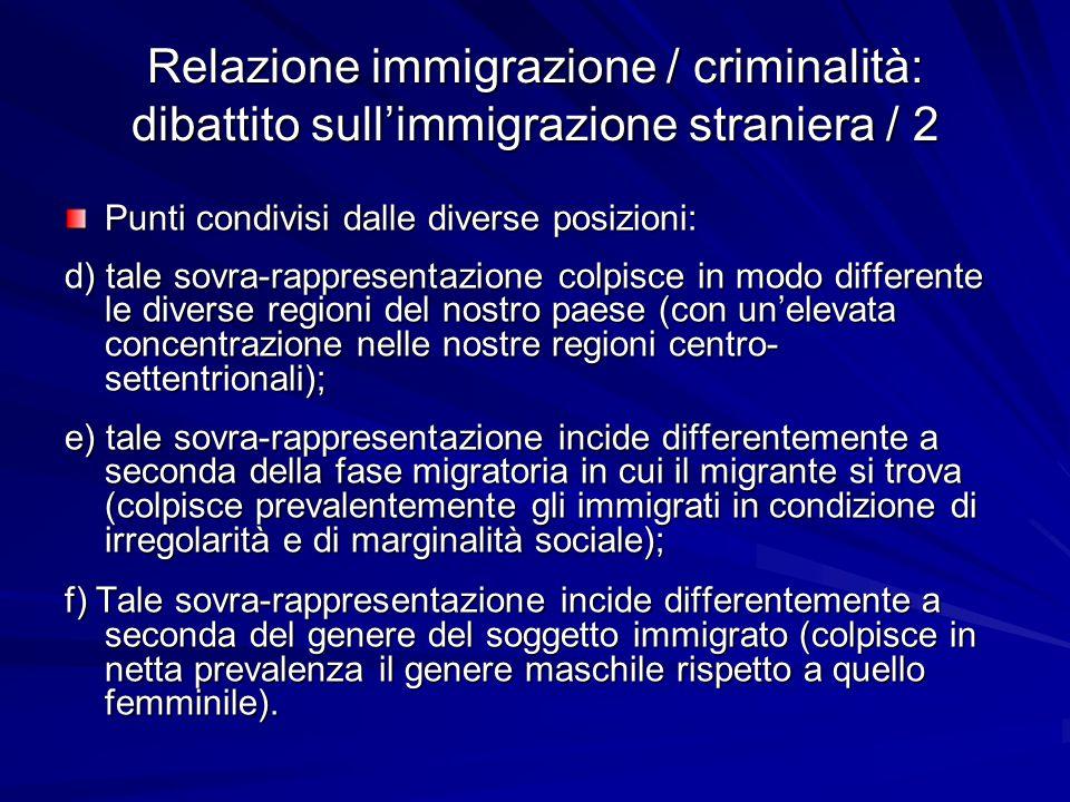 Relazione immigrazione / criminalità: dibattito sull'immigrazione straniera / 2 Punti condivisi dalle diverse posizioni: d) tale sovra-rappresentazion