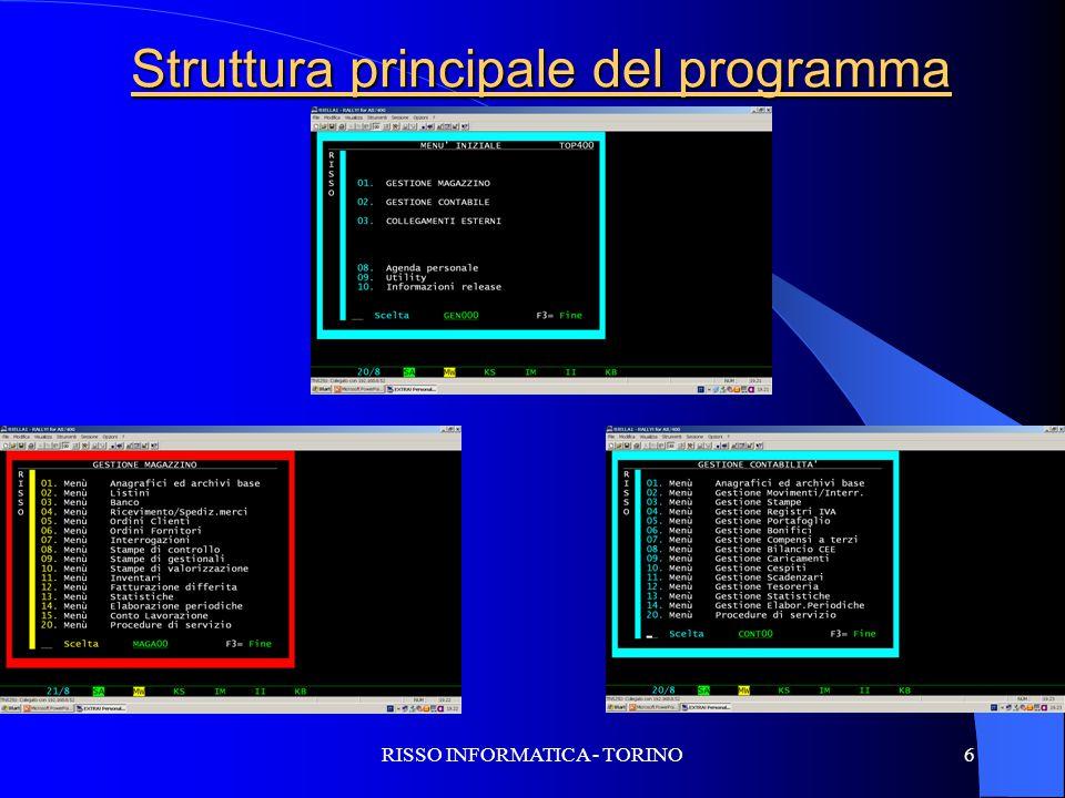 RISSO INFORMATICA - TORINO6 Struttura principale del programma