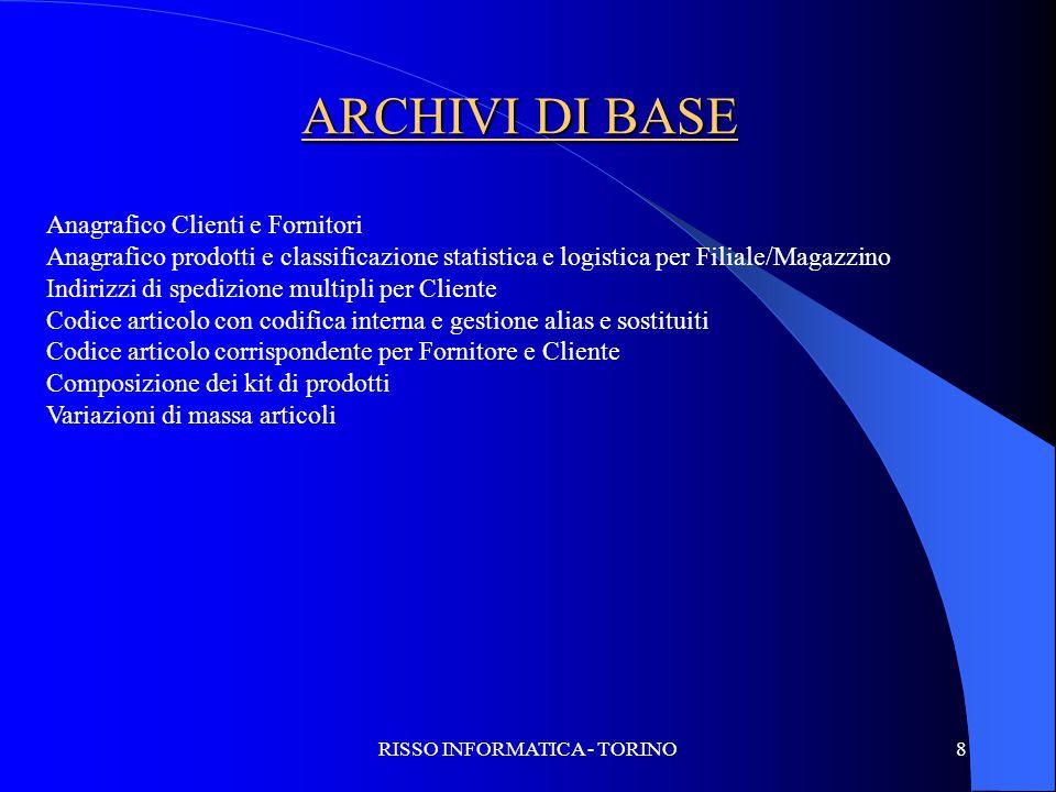 RISSO INFORMATICA - TORINO8 ARCHIVI DI BASE Anagrafico Clienti e Fornitori Anagrafico prodotti e classificazione statistica e logistica per Filiale/Ma