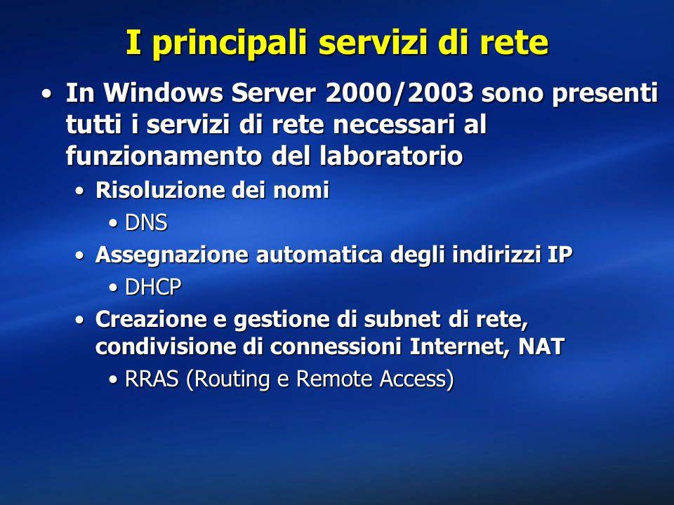 I principali servizi di rete In Windows Server 2000/2003 sono presenti tutti i servizi di rete necessari al funzionamento del laboratorioIn Windows Server 2000/2003 sono presenti tutti i servizi di rete necessari al funzionamento del laboratorio Risoluzione dei nomiRisoluzione dei nomi DNSDNS Assegnazione automatica degli indirizzi IPAssegnazione automatica degli indirizzi IP DHCPDHCP Creazione e gestione di subnet di rete, condivisione di connessioni Internet, NATCreazione e gestione di subnet di rete, condivisione di connessioni Internet, NAT RRAS (Routing e Remote Access)RRAS (Routing e Remote Access)