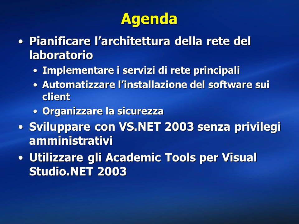 Agenda Pianificare l'architettura della rete del laboratorioPianificare l'architettura della rete del laboratorio Implementare i servizi di rete principaliImplementare i servizi di rete principali Automatizzare l'installazione del software sui clientAutomatizzare l'installazione del software sui client Organizzare la sicurezzaOrganizzare la sicurezza Sviluppare con VS.NET 2003 senza privilegi amministrativiSviluppare con VS.NET 2003 senza privilegi amministrativi Utilizzare gli Academic Tools per Visual Studio.NET 2003Utilizzare gli Academic Tools per Visual Studio.NET 2003