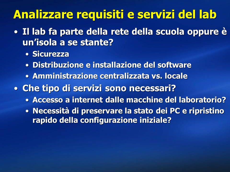 Analizzare requisiti e servizi del lab Che tipo di applicativi e servizi per la didattica devo installare?Che tipo di applicativi e servizi per la didattica devo installare.