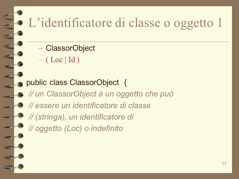13 L'identificatore di classe o oggetto 1 –ClassorObject –( Loc | Id ) public class ClassorObject { // un ClassorObject è un oggetto che può // essere un identificatore di classe // (stringa), un identificatore di // oggetto (Loc) o indefinito