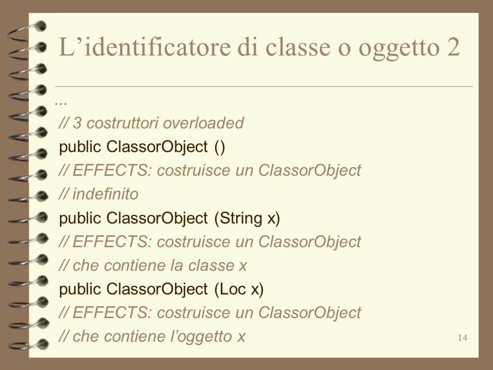 14 L'identificatore di classe o oggetto 2...