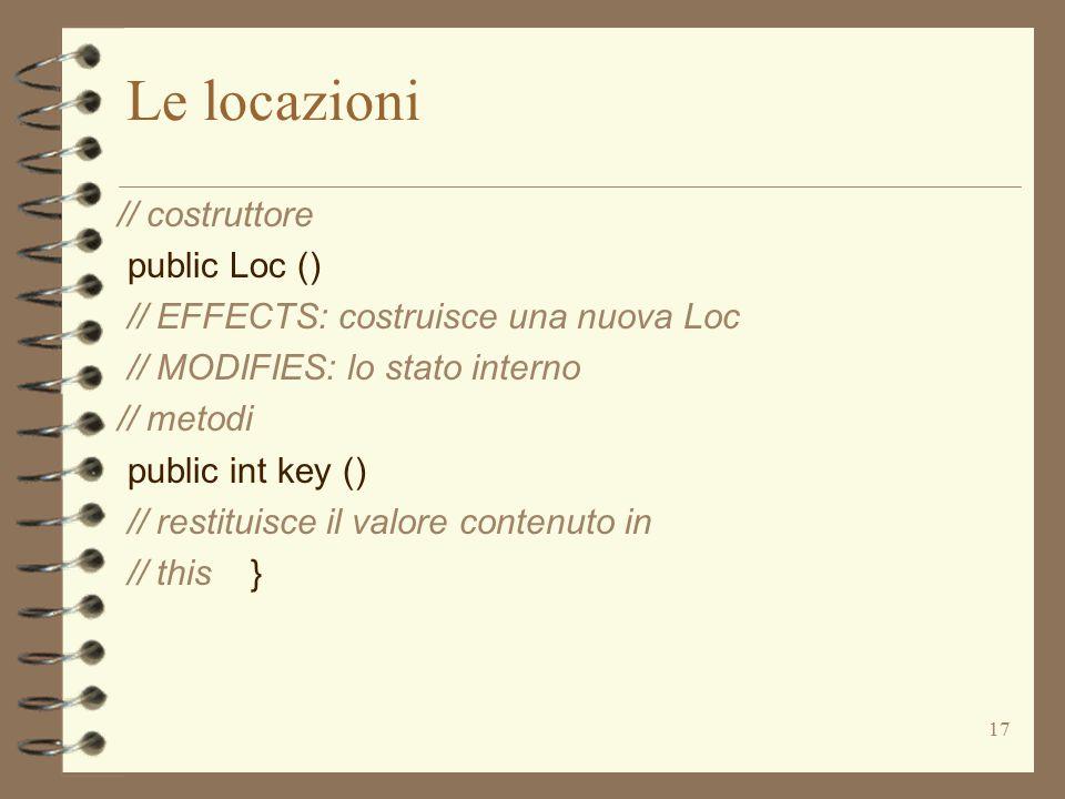 17 Le locazioni // costruttore public Loc () // EFFECTS: costruisce una nuova Loc // MODIFIES: lo stato interno // metodi public int key () // restituisce il valore contenuto in // this }