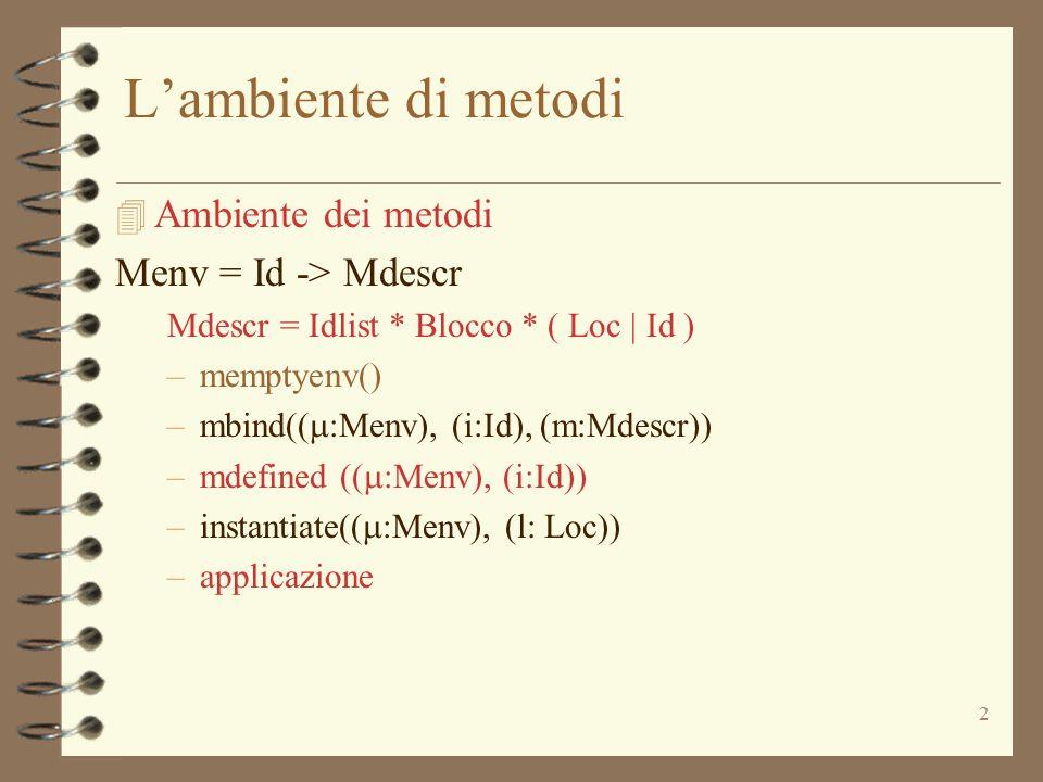 2 L'ambiente di metodi 4 Ambiente dei metodi Menv = Id -> Mdescr Mdescr = Idlist * Blocco * ( Loc | Id ) –memptyenv() –mbind((  :Menv), (i:Id), (m:Mdescr)) –mdefined ((  :Menv), (i:Id)) –instantiate((  :Menv), (l: Loc)) –applicazione
