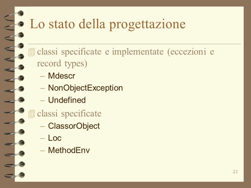 21 Lo stato della progettazione 4 classi specificate e implementate (eccezioni e record types) –Mdescr –NonObjectException –Undefined 4 classi specificate –ClassorObject –Loc –MethodEnv