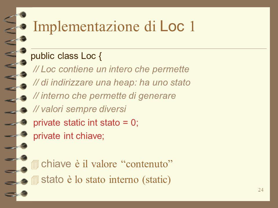 24 Implementazione di Loc 1 public class Loc { // Loc contiene un intero che permette // di indirizzare una heap: ha uno stato // interno che permette di generare // valori sempre diversi private static int stato = 0; private int chiave;  chiave è il valore contenuto  stato è lo stato interno (static)