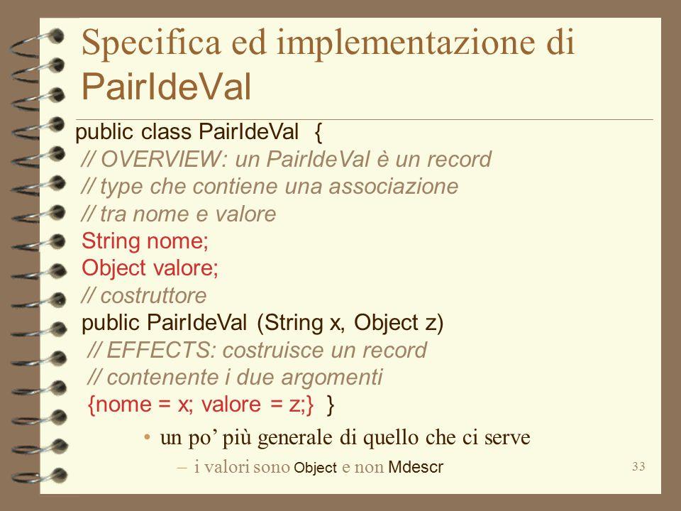 33 Specifica ed implementazione di PairIdeVal public class PairIdeVal { // OVERVIEW: un PairIdeVal è un record // type che contiene una associazione // tra nome e valore String nome; Object valore; // costruttore public PairIdeVal (String x, Object z) // EFFECTS: costruisce un record // contenente i due argomenti {nome = x; valore = z;} } un po' più generale di quello che ci serve –i valori sono Object e non Mdescr