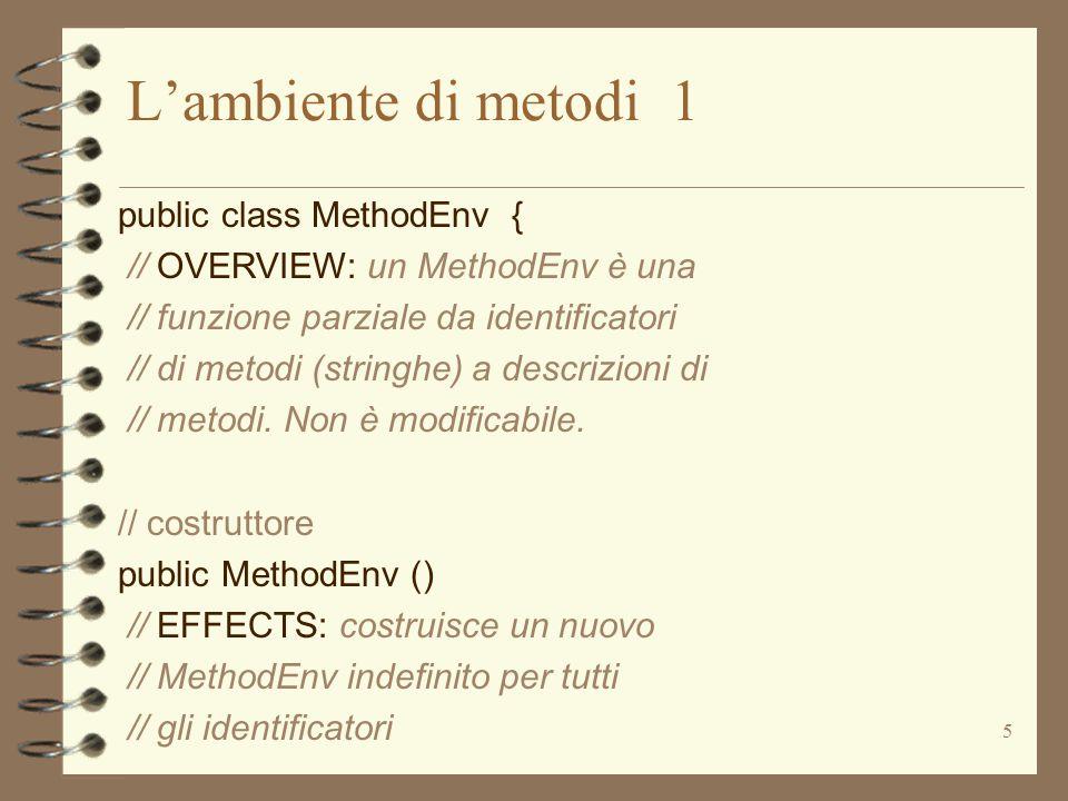 5 L'ambiente di metodi 1 public class MethodEnv { // OVERVIEW: un MethodEnv è una // funzione parziale da identificatori // di metodi (stringhe) a descrizioni di // metodi.