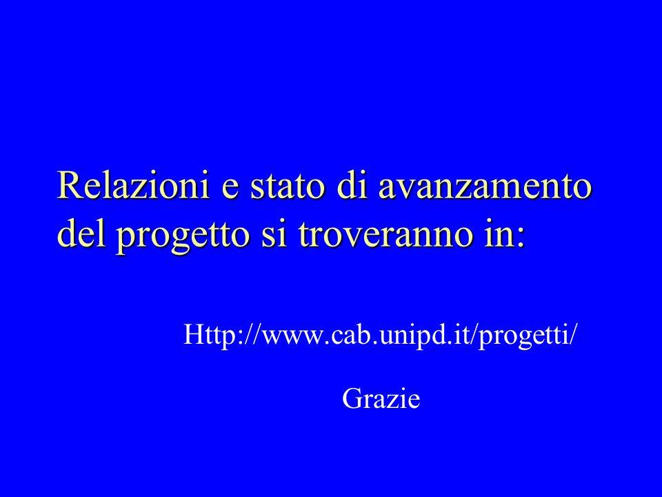 Relazioni e stato di avanzamento del progetto si troveranno in: Http://www.cab.unipd.it/progetti/ Grazie