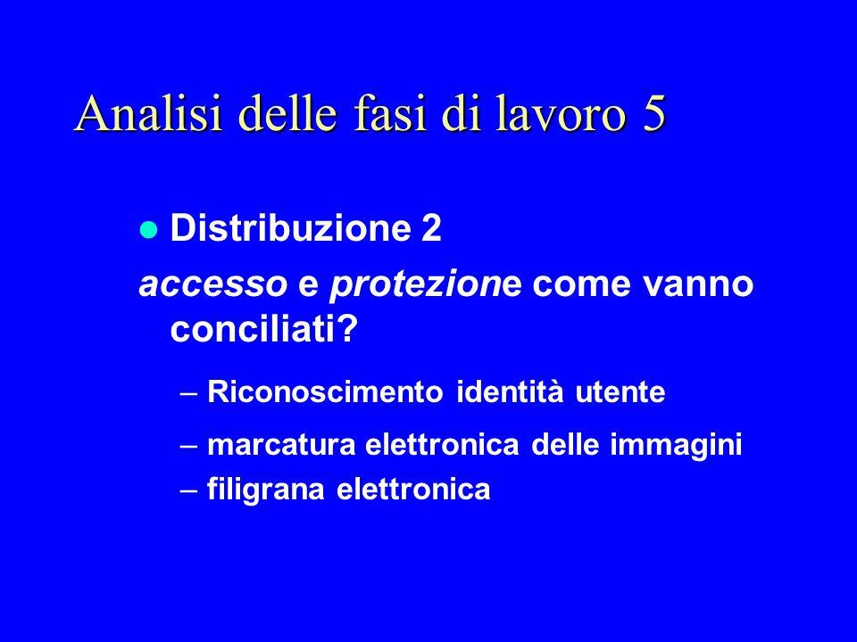 Distribuzione 2 accesso e protezione come vanno conciliati? –Riconoscimento identità utente –marcatura elettronica delle immagini –filigrana elettroni