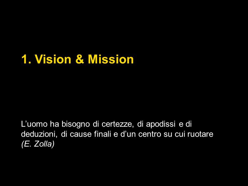 1. Vision & Mission L'uomo ha bisogno di certezze, di apodissi e di deduzioni, di cause finali e d'un centro su cui ruotare (E. Zolla)