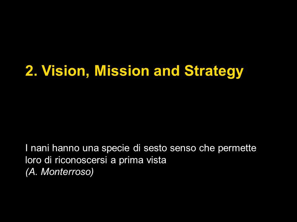 2. Vision, Mission and Strategy I nani hanno una specie di sesto senso che permette loro di riconoscersi a prima vista (A. Monterroso)