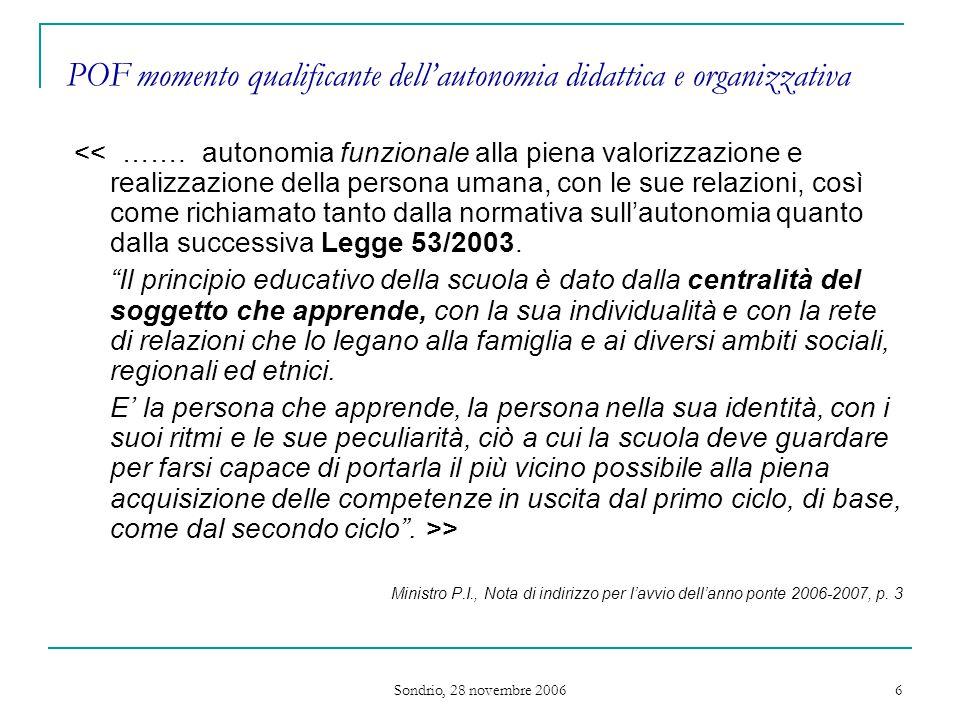 Sondrio, 28 novembre 2006 6 POF momento qualificante dell'autonomia didattica e organizzativa << …….